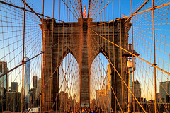 Golden Hour on the Bridge (USpecks_Photography) Tags: brooklynbridge brooklyn bridge symmetry goldenhour nyc newyorkcity manhattan urban chords vanishingpoint