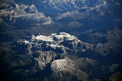 An aerial view of the Sassolungo and Sella Groups (Dolomites, 20111014) (RainoL) Tags: 2011 201110 20111014 aerial dolomites italy landscape mountains october scenery snow mountain sassolungo sella gruppodelsella gruppodelsassolungo