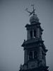 Westerkerk (Long Sleeper (busy!)) Tags: building architecture church westerkerk plane airplane sky bw monochrome amsterdam holland thenetherlands lumixg425mmf17asph dmcgx1