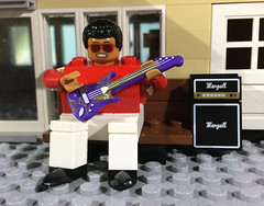 THE FATMAN (woodrowvillage) Tags: lego minifigure mini figure legos moc fat man obese overweight blues singer jazz street musician electric guitar carny robbie robertson fats domino song marshall amp amplifier music purple