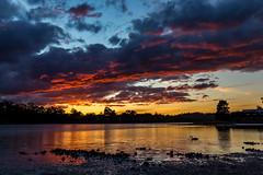 Firery Sunset (SarahO44) Tags: tasmania australia canon 6d sunset reflection swan fire sky st helens medeas cove
