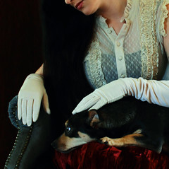Her Love (coollessons2004) Tags: krystalsmith vintage woman puppy dog beauty beautiful gloves