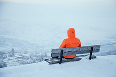 Bench with view (D. Smixiotis) Tags: snow view mountain activity adventure frozen ice cold greece macedonia europe people portrait bench winter