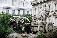 The Cibeles fountain in the centre of Madrid (lluunnoo) Tags: madrid square cibeles lion tourism fountain sculpture spain