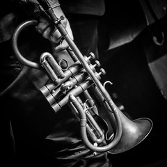 Cornet (tim.perdue) Tags: matt wilson quartet band group jazz music musician instrument performance concert note club nightclub columbus ohio brewery district high street cornet brass monette square black white bw monochrome instagram valves slides bell mouthpiece hand explore popular interesting explored interestingness