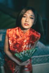 DSC00582 (Spyrosis) Tags: woman portrait fashion female asian model cute beauty chinese new year red qipao dress lomography achromat