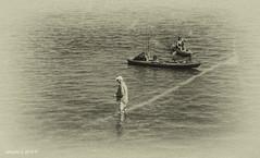 Fishing On The Coral (Denzil D) Tags: florida floridakeys wifephoto canonpowershots95 blackandwhite blackwhite gulfofmexico fishing