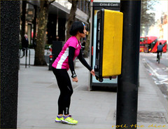 `1893 (roll the dice) Tags: london w1 camden tottenhamcourtroad blur traffic forcedperspective chinese fit jogging exercise sweaty pretty girl sexy mad funny small trick magic streetphotography button uk art classic people natural unaware unknown urban england portrait stranger candid canon tourism pink yellow bus travel transport wet surreal shops shopping fashion trainers asian londonist