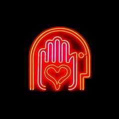Heart in Hand Neon (pjpink) Tags: night neon light heart hand scad savannah georgia ga january 2017 winter pjpink