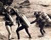 Vintage scuba divers. (Vintage Scuba) Tags: ocean lake man men wet water vintage belt tank mask smooth dry scuba diving rubber double hose suit diver beavertail weight drysuit fins wetsuit rebreather regulator