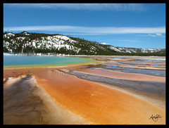 Grand Prismatic Spring (Galactic Dreams) Tags: blue red orange usa brown mountain snow green nature water yellow river underground landscape flow spring rainbow wind crystal bluewater grand twist bluesky clear mat chamber yellowstone winding flowing wyoming geology np leak volcanic bacteria mats feature wonders magma twisty prismatic grandprismaticspring crystalclear twisting curvey yellowstonenp geologic supervolcano timebomb interst microbial bacterialmat rainbowpool npusa microbialmats rainbowwater galacticdreams magmachamber rainbowsteam rainbowpoolyellowstone