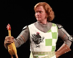 """John Scherer as Sir Robin in the 2010 Music Circus premiere of the Tony Award-winning Best Musical """"Monty Python's Spamalot"""" at the Wells Fargo Pavilion, July 9-18.  Photo by Charr Crail."""