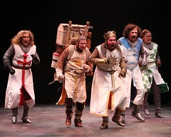 """Ron Bohmer, Andy Taylor, Gary Beach, Ron Wisniski and John Scherer in the 2010 Music Circus premiere of the Tony Award-winning Best Musical """"Monty Python's Spamalot"""" at the Wells Fargo Pavilion, July 9-18.  Photo by Charr Crail."""