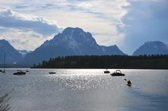 Paddling out (afagen) Tags: favorite mountain lake boat kayak nps wyoming mountmoran nationalparkservice grandteton jacksonhole grandtetonnationalpark jacksonlake mtmoran signalmountainlodge
