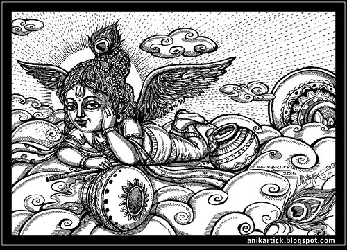 Little Krishna floats on the clouds of butter-Anikartick Art -  102