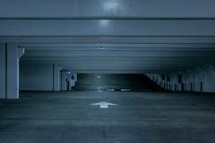 Blue Garage (safewaySELECT) Tags: blue urban cool empty garage parking grain gritty iso nighttime