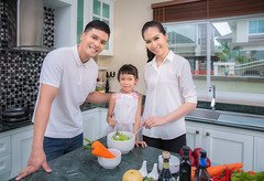 Asian Family Kitchen (anekphoto) Tags: life family food india house cute love home cooking kitchen girl beautiful vegetables training children indonesia asian fun thailand living salad tv healthy singapore asia dad room indian father daughter chinese young mother lifestyle style vegetable mum together thai attractive cutting manu assisting insurance culinary helping bonding korma jpan malaria