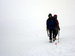 """Mike and Cormac in a white out on the way down • <a style=""""font-size:0.8em;"""" href=""""http://www.flickr.com/photos/41849531@N04/20269359518/"""" target=""""_blank"""">View on Flickr</a>"""