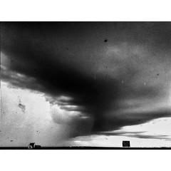 Storm in Kansas (http://instagram.com/wojconner) Tags: road travel bw storm weather landscape driving documentary roadtrip kansas bnw iphone