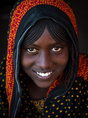 Portrait of a smiling Afar tribe teenage girl with braided hair, Afar region, Mile, Ethiopia (Eric Lafforgue) Tags: afar africa african africanethnicity africantribe assaita beautifulpeople beauty braidedhair braids colourpicture cute danakil drought eastafrica ethio17175 ethiopia ethiopian ethnic hair headshot hornofafrica indigenousculture lookingatcamera mile muslim nomadicpeople onegirlonly oneperson oneteenagegirlonly outdoors pastoralist people photography portrait smiling teenager traditionalclothing tribal tribe veil veiled vertical woman women