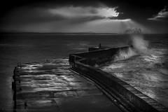 Harbour Storm (Andrew Paul Watson) Tags: harbour burghead blackandwhite white black scotland fine art andrew paul watson andrewpaulwatson uk moray firth sea storm wave cloud break sunset fujifilm xt1