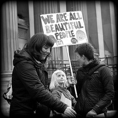 Anyone wanna argue? (* RICHARD M (Over 6 million views)) Tags: street candid portraits portraiture streetportraits streetportraiture candidportraits candidportrature mono blackwhite placards signs blonde albino albinism rally rallies protests protesters demonstrations demonstrators womensrights antitrump stgeorgesplateau stgeorgeshall limestreet liverpool merseyside liverpudlians scousers merseysiders europeancapitalofculture capitalofculture happiness happy smiles families motheranddaughter blondy beautifulpeople thedecisivemoment feminism feminists anttrump dumptrump england unitedkingdom uk greatbritain gb britain britishisles