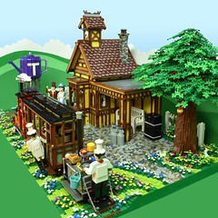 "LEGO Sunday Afternoon Tea Train to Tetley (Brickbaron) Tags: lego railway trains station ""rowlandemett"" ""peterbarnsfield"" ""paulhetherington"" brickbaron locomotive ""steamtrain"" english whimsical quaint brickcan narrowgauge tetleytea"