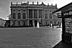 """""""Street Games"""" (giannipaoloziliani) Tags: streetgames street urban urbanstreet blackandwhite monochrome italy turin torino piemonte biancoenero museo museum facade art architecture place lights shadows noire sky skyline obscure hard strange dark darkness perspective watergames water fountains palace capture streetphotography nikon"""