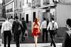 Colour Beauty (Pedro Otones) Tags: bn bw women red portrait people city urban street