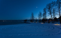 Snow circles (Antti Tassberg) Tags: meri blue landscape yö taivas jää talvi outdoor lumi hdr ranta beach dark ice lowlight night nightscape sea shore sky snow winter espoo uusimaa finland fi
