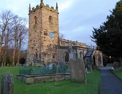 Village church of Eyam xmas eve (lesleydugmore) Tags: church graves path grass green sky blue tower clock eyam peak district derbyshire england great britain windows plaguevillage