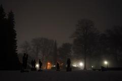 Statues in Snowy Park (josbert.lonnee) Tags: nite night foggy mistig nacht park lantaarns lantarns lampposts snowy snow winter sneeuw besneeuwd volkspark enschede netherlands beelden standbeelden statues mist fog