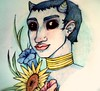 Flores y oscuridad (Niluna nisol) Tags: girl chica color dark oscuridad flores flowers ink tinta pencil pencils horn niluna nisol drawing dibujo ilustración illustration