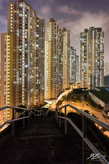 Who's Watching Who? (Tim van Zundert) Tags: pingshan photography architecture towers blocks city cityscape skyline landscape night evening longexposure hongkong kowloonbay kowloon china sony a7r voigtlander 21mm ultron