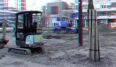 Laurenskerkplein Rotterdam 3D (wim hoppenbrouwers) Tags: laurenskerkplein rotterdam 3d anaglyph stereo redcyan laurenskerk grotekerksplein park