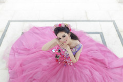 Lady in Pink (Fevzi DINTAS) Tags: pink flowers wedding portrait people cute beautiful smile look fashion pose asian thailand happy model pretty mood dress geometry style human lovely prewedding paza140