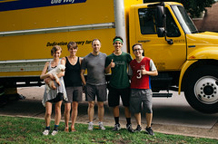 Move Crew (BurlapZack) Tags: family dog yellow moving bokeh suburbia neighborhood poodle breakdown doggy groupphoto pup maltese pooch movingday folks towtruck movingtruck dallastx familypet pack07 addisontx enginetrouble candoattitude welcometotheneighborhood pentaxk5 movecrew vscofilm sigma35mmf14dghsm sigmaart35 younggents