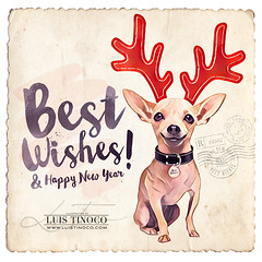 Best Wishes! (LUIS TINOCO - ILLUSTRATOR) Tags: illustration illustrator ilustrador ilustracion illustrations ilustrator ilustración dog chiguagua xmas merrychritsmas santaclaus bestwishes postcard postal navidad reno
