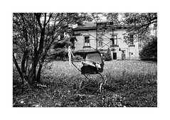 The garden with the statue (Jan Dobrovsky) Tags: 24mm 80s analog archive contrast document film garden grain hp5 ilford pentaxmesuper praha statue nowhere olbram zoubek countryside nostalgia
