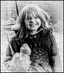 Day 14 (lizzieisdizzy) Tags: child girl female garden winter snow snowman snowshape smiling tousled windswept happy laughing smile pretty charming cold
