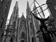 Atlas facing the Faith (Leguman vs the Blender) Tags: nyc newyork midtown manhattan usa bw