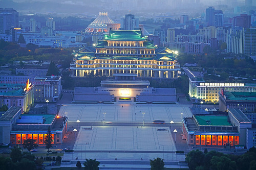 Evening Kim Il Sung square from Juche Tower, Pyongyang