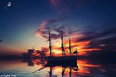 """You must not lose faith (gusdiaz) Tags: photomanipulation photoshop digital art pirate pirates ship sunset sunrise amanecer atardecer hermoso beautiful water ocean reflection nature sun sky clouds"