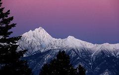 After the alpenglow (windyhill623) Tags: fisherpeak mountfisher mountain mountainpeak sunset alpenglow eveninglight evening eastkootenay snow pink outdoor beautifullight britishcolumbia hughesrange winter