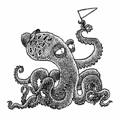 Keen booster (Don Moyer) Tags: octopus teamspirit enthusiasm ink drawing sketchbook moyer donmoyer brushpen wave