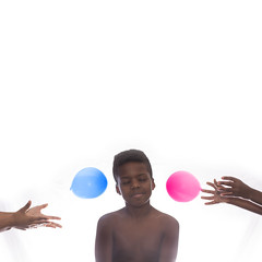 Anticipation (mckenziemedia) Tags: doubleornothing flickrfriday double two balloons color pink blue highkey hands face boy white brown waterballoons smile toss throw