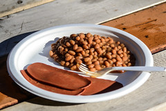 Beans and (Vegan) Bacon for Breakfast (Vegan Butterfly) Tags: vegetarian vegan food yummy tasty delicious plate breakfast outdoor outside beans maple syrup soy bacon veggie meatless camping camp