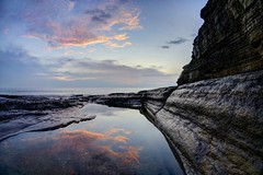 Memoir (pauldunn52) Tags: sunset southerndown cliffs glamorgan heritage coast wales rock pool water reflection clouds