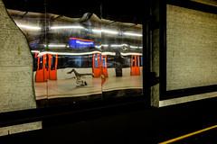 Breakdancer reflected @ Metrostation Nieuwmarkt (Amsterdam) (PaulHoo) Tags: amsterdam people candid 2017 breakdance dance dancer reflection color vibrant holland netherlands red fujifilm x70 movement moving action mirror metro metrostation
