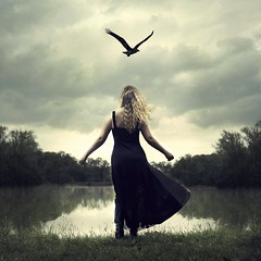 Flightless (Rachel.Adams) Tags: fineart fineartphotography sky flightless bird wings flying grounded dark storm lake clouds conceptionalphotography conceptional blonde meaningful escape alone wind darkart emotional flyaway takemewithyou blackbird nikon photography photoshop nj artisticportrait